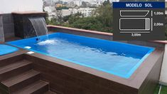 Modelos de minipiscinas - Piscinas Vélez Mini Piscina, Classic House Design, House Front Design, Hotel Swimming Pool, Swimming Pool Designs, Rooftop Design, Rooftop Terrace, Above Ground Pool, In Ground Pools