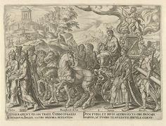 Philips Galle | Triomf van de liefde, Philips Galle, Hadrianus Junius, c. 1565 | Op een zegewagen troont Cupido. Zijn wagen voert Jupiter mee, het prototype van de echtbreker en veroveraar. Voor de wagen wandelen klassieke dichters die over de liefde schreven: Marcellus, Ovidius en Tibullus. Naast de wagen volgen slachtoffers van de liefde: Salomo, Hercules, Piramus en Thisbe. De stoet is op weg naar de tempel van de liefdesgodin Venus, links op de achtergrond. De prent heeft een Latijns…