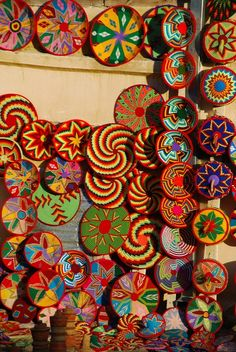 Baskets in Ethiopia, need to get some of these when I finally go. Perfect to hang on wall!