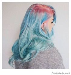 Blue hair with some pink