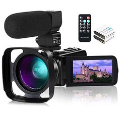 Camcorder Video Camera,1080P 30FPS IR Night Vision YouTube Vlog Camera 16X Digital Zoom Touch Screen Video Recorder with Microphone,Wide Angle Lens,Remote Control,2 Batteries and Lens Hood Professional Camera, Wide Angle Lens, Vlog Camera, Gift Store, Camcorder, Night Vision, Videos, Youtube, Display