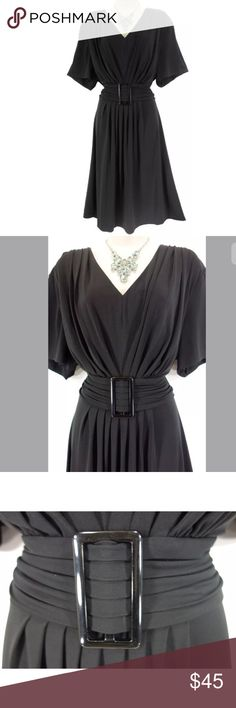 """22W 3X BLACK RUCHED WAIST MIDI DRESS Plus Size This sexy, beautiful, little black dress is perfect for a day or evening occasion!   Size: 22W Slip on/ slip off V-neckline Flattering ruched waist with a faux-buckle (front only) Black Stretchy, super comfortable fabric Measurements: Bust (armpit to armpit):  50"""" relaxed - stretches to 57"""" Waist: 46"""" relaxed - stretches to 56"""" Hips:  62"""" relaxed Length: 44"""" (top of shoulder to bottom hem)  Condition:  PRISTINE CONDITION! Fabric Content: 94%…"""