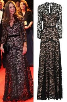 Kate Middleton's custom black lace floor length gown by Temperley London. STUNNING. i only wish it would look that good on my body, haha.