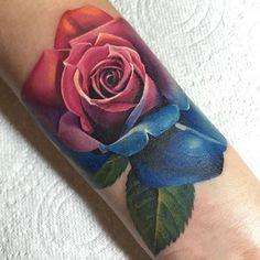 Amazing artist Michelle Maddison @michellemaddison rainbow rose tattoo! @wowtattoo @inkedmag ...