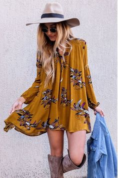 Bohemian Chic Simple Floral Print Mini Dress