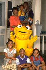 Just take your foot in your hand...that means hurry up! Don't miss the good things that we planned.  So come and let's play together in the bright sunny weather.  Let's all go to Gullah Gullah Island!