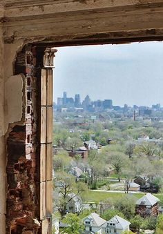 Damaged window frame and the downtown skyline. Abandoned Castles, Abandoned Mansions, Abandoned Places, Detroit Ruins, Abandoned Detroit, Beautiful World, Beautiful Places, N America, Through The Window