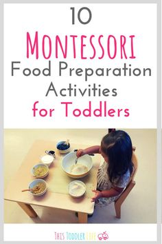 10 Montessori Food preparation activities for Montessori toddlers. Montessori food preparation and Montessori food station for Montessori food activities. Food Activities For Toddlers, Preschool Food, Montessori Preschool, Montessori Education, Toddler Preschool, Learning Activities, Playgroup Activities, Toddler Yoga, Montessori Infant
