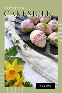Easter Egg Cakesicles Recipe - White Chocolate Cakepops – Cocoa & Heart Easter Chocolate, Chocolate Molds, Melting Chocolate, White Chocolate, Making Easter Eggs, Lemon Curd Filling, Cake Mixture, Cake Fillings, Catering Food