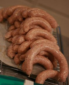 Homemade sausages - Bacon, chili and garlic How To Make Sausage, Food To Make, Sausage Making, Homemade Sausage Recipes, Norwegian Food, Bacon, Smoking Meat, Charcuterie, Deli