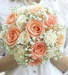 White Baby's Breath (Gypsophila), Cream Roses, Peach Roses Round Wedding Bouquet - Modern Bridal Bouquet Coral, Peach Bouquet, Rose Wedding Bouquet, White Wedding Bouquets, Wedding White, Boquet, Diy Bouquet Mariage, Gypsophila Wedding, Modern Wedding Flowers