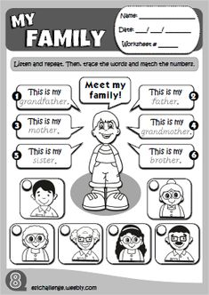 My family worksheet Teach English To Kids, English Activities For Kids, English Stories For Kids, English Worksheets For Kids, English Lessons For Kids, 1st Grade Worksheets, Learn English, English Teaching Materials, English Teaching Resources