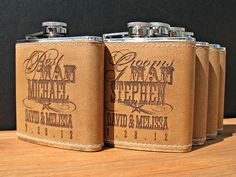 5 Custom Leather Flasks for Bridal Party by MarcellasEngravables, $87.50