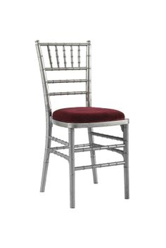 Silver Chivari chair with Red Seat Pad, Is a modern design stackable eco-friendly resin chair, shown here with a Red seat pad but is also available in various coloured seat pads. http://www.eventhireonline.co.uk/chairs/chivari