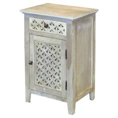 Weathered mango wood cabinet with 1 drawer and 1 door.  Product: CabinetConstruction Material: Mango...