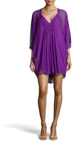 Diane von Furstenberg Fleurette Flutter-Sleeve Dress, Purple on shopstyle.com