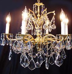"""Elegant Custom Dressed Vintage CRYSTAL 6 Light 18"""" Spanish BRONZE CHANDELIER Brilliant Gold Plated Custom Dresses, Vintage Dresses, Bronze Chandelier, Plaque, Pacific Heights, Sparkle, Cartier Jewelry, Ceiling Lights, Lighting"""