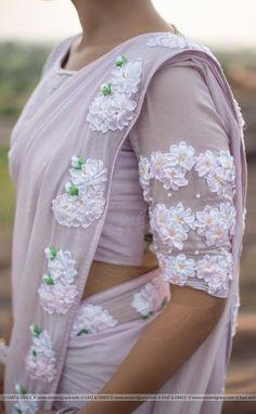 Swan Pure Silk-Chiffon Ribbon Embroidered Saree with Ribbon Embroidered Raw-Silk Blouse Simple Sarees, Trendy Sarees, Fancy Sarees, Saree Draping Styles, Saree Styles, Embroidery Dress, Embroidered Dresses, Ribbon Embroidery, Chiffon Saree