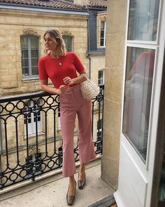 Adenorah French Trends Pink Pants Red Top