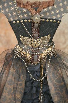 Steampunk paper/organza dress closeup by Maggi Harding, Graphic 45