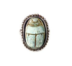 Scarab Sterling Ring Sterling Silver Blue Beetle by zephyrvintage