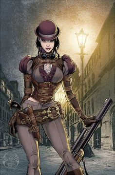 """Lady Mechanika is the newest creator-owned comic book series by American comic book artist Joe Benitez, inspired by the steampunk genre. """"Steampunk"""" is all about re-imagining history, usually combining the … Lady Mechanika, Steampunk Characters, Fantasy Characters, Female Characters, Steampunk Kunst, Steampunk Artwork, Steampunk Drawing, Steampunk Book, Steampunk Cosplay"""