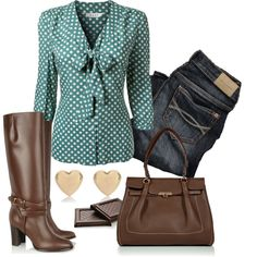 """""""Chocolate brown and dark mint fall Outfit"""" by natihasi on Polyvore"""