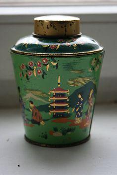 pagoda tea tin, c1950s