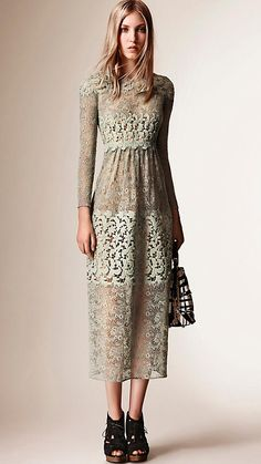 Apple green Floral Lace and Macramé Dress - Image 5