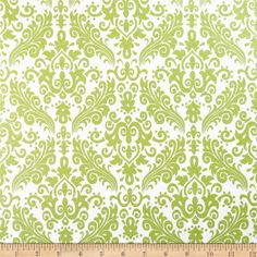 Riley Blake Hollywood Sparkle Medium Damask Lime from @fabricdotcom  Designed by RBD Designers for Riley Blake, this cotton print features lustrous metallic foil printed onto cotton fabric.  This fabric is perfect for quilting, apparel and home decor accents.  Colors include metallic lime and white.