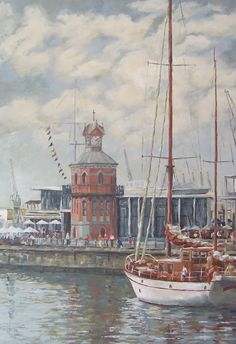 Yacht harbour and Clock Tower Oil on Canvas