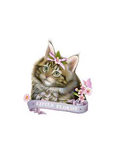 Cute kitten art print - Little Florist - Cat illustration - Kitten print