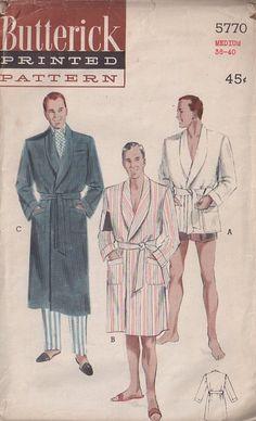 MOMSPatterns Vintage Sewing Patterns - Butterick 5770 Vintage 50's Sewing Pattern MARVELOUS Men's Hugh Hefner Playboy Smoking Jacket, Beach Robe, Shawl Collar Bathrobe Set