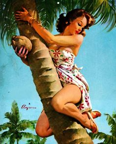Retro Pinup Girl Canvas Art Print A4 Vintage Poster Gil Elvgren Tree Fruit | eBay