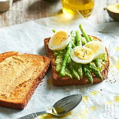 You're only 10 minutes away from this vegetarian breakfast sandwich. Simply spread mustard on toasted whole wheat bread, then top with mashed avocado, steamed asparagus, and a hard-boiled egg.  Protein count: 12 grams