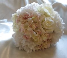 ********* SILK ********     Bridal Bouquet  Peony Hydrangea and Roses  Silk by FloralAccents (95 but ships to us and canada)