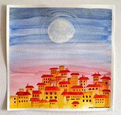 Tuscan Moonrise, watercolor on paper by The Blue Studio, Lauren MacLaughlin
