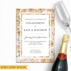 Engagement invitation, wedding invitation, marble invitation, elegant, white and gold, digital printable, customised