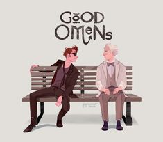 Good Omens Good Omens black and grey ombre hair - Ombre Hair Michael Sheen, Neil Gaiman, Disney Channel, Cartoon Network, Amazon Prime Shows, Jandy Nelson, Good Omens Book, Fanart, Terry Pratchett