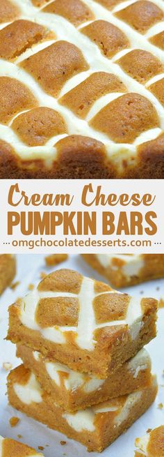 Bars with Cream Cheese - Pumpkin Bars with Cream Cheese is simple and easy dessert recipe for fall baking season. Moist and -Pumpkin Bars with Cream Cheese - Pumpkin Bars with Cream Cheese is simple and easy dessert recipe for f. 13 Desserts, Chocolate Desserts, Easy Fall Desserts, Desserts For A Crowd, Lemon Desserts, Summer Desserts, Chocolate Chips, Easy Recipes For Desserts, Easy Cream Cheese Desserts