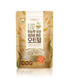 우리밀 무농약 국산 귀리로 만든 오트밀 패키지디자인 | 앤도스 Rice Packaging, Pouch Packaging, Bakery Packaging, Food Packaging Design, Brand Identity Design, Branding Design, Label Design, Package Design, Medicine Packaging