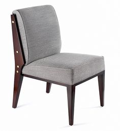 The Thierry Side Dining Chair is available in a variety of woods, stains and finishes as well as a variety of metal finishes on the exposed frame bolts. The Thierry Side Dining Chair was designed to work with the Thierry Arm Dining Chair.
