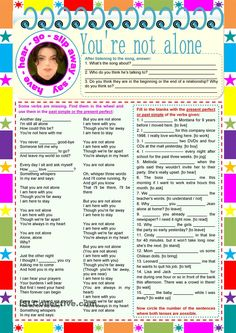 There are 3 tasks: listening and recognizing, gap-filling, comprehension. After listening, filling in and sharing their ideas about the lyrics, the students will. Teaching Aids, Teaching Activities, Listening Activities, Teaching English Grammar, Spanish Language Learning, Active Listening, Listening Skills, English Lessons, Learn English