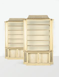 DEUX BIBLIOTHÈQUES, VERS 1937 TWO PAINTED AND GILT WOOD BOOKCASES BY JEAN-MICHEL FRANK, CIRCA 1937.  BRANDED THIS LOT IS SOLD WITH A CERTIFICATE FROM THE JEAN-MICHEL FRANK COMMITTEE. owned by Elsa Schiaparelli