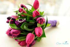 Bouquet de Novia de Tulipanes Fucsias y Morado