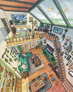 Home Room Design, House Design, Jr Art, Isometric Art, Fantasy House, Fantasy Forest, Sims 4 Houses, House Drawing, Anime Scenery