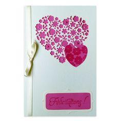 Carte Félicitations mariage Coeur de fleurs rose et ivoire, Collection Lovely Dentelle, Lovely Carte