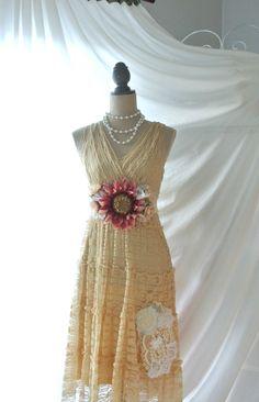 Romantic lace dress boho shabby ecru country by TrueRebelClothing, $74.00