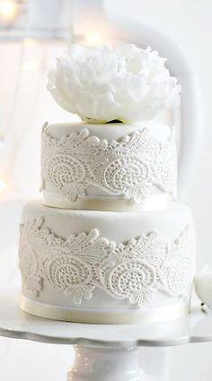 Lace Peony Wedding Cake