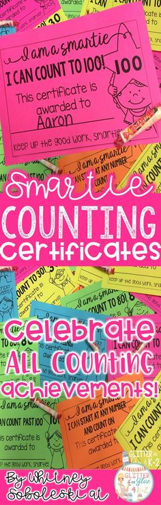 Motivate your little ones to reach oral counting goals with these certificates! Give these to your students to celebrate all counting milestones! Keywords: counting, skip counting, counting to 100, kindergarten, first grade, preschool, special education i